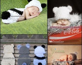 Cuddle Critter Cape - Basic Bear-  Newborn photography prop- Koala, Polar, Teddy or Panda