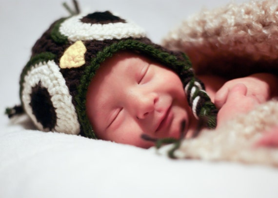 Coffee and Olive Owl Earflap hat - sizes nb- 5 plus years