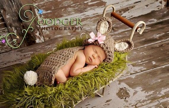 Bunny Rabbit Cuddle Critter Cape Set  Newborn Photography Prop