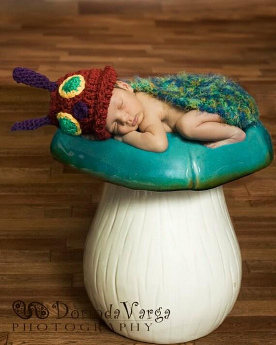Instant Download - Crochet pattern - Caterpillar Critter Cape - Newborn Photography Prop -