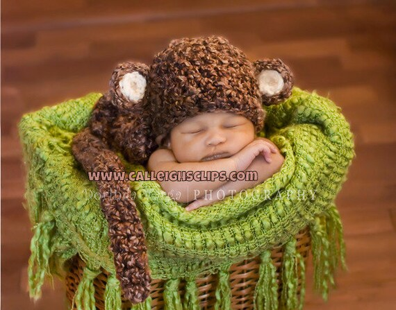 Instant Downloadl Crochet Pattern - No. 7 Chunky Monkey - Cuddle Critter Cape Set  - Newborn Photography Prop