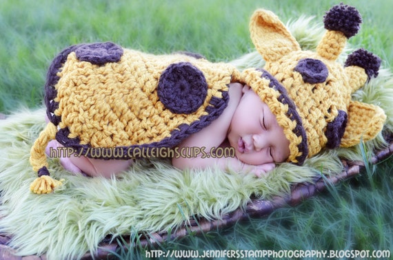 Instant Download Crochet Pattern - No. 11 -Goldie Giraffe- Cuddle Critter Cape Set  - Newborn Photography Prop