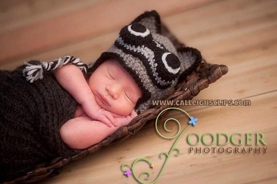 Raccoon earflap hat - infant, toddler, & kids