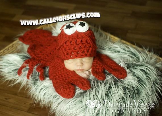 Instant Download Crochet Pattern No. 56 - Pinchy the Lobster Cuddle Critter Cape Set  - Newborn Prop
