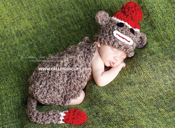 Sock Monkey Cuddle Critter Cape Set  Newborn Photography Prop