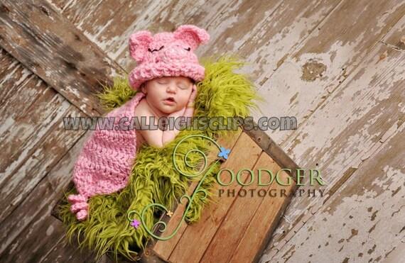 Instant Download Crochet Pattern - No. 24 Pink Piggy- Cuddle Critter Cape Set  - Newborn Photography Prop
