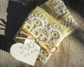 30 Wedding Favors/ all natural Soaps Wrapped in Ribbon - READY to SHIP - all natural, organic, eco friendly