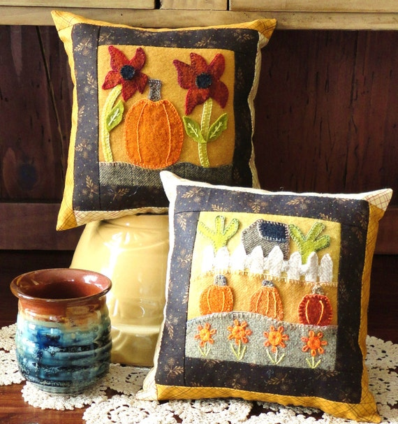 Woolly Pumpkin One, A Pattern for Two Little Wool Embroidery Pillows
