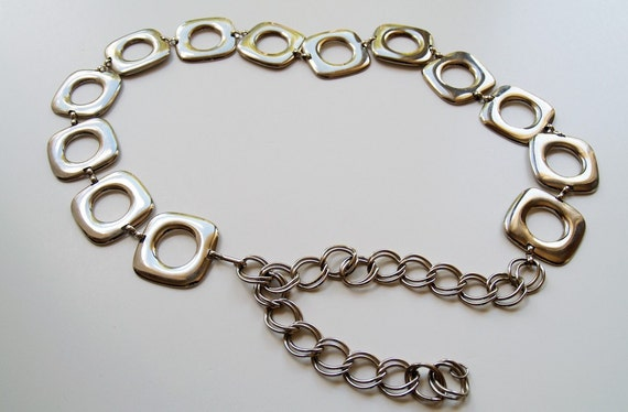 RESERVED  Vintage Silver Chain Belt