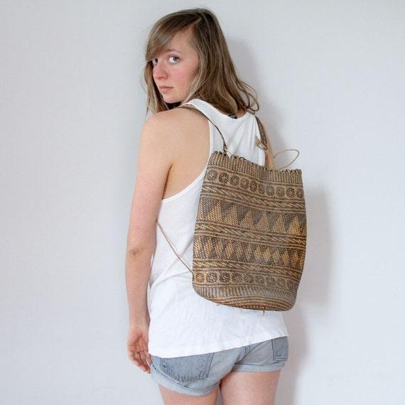 ON SALE Woven Backpack // Indonesian Straw Bucket Bag