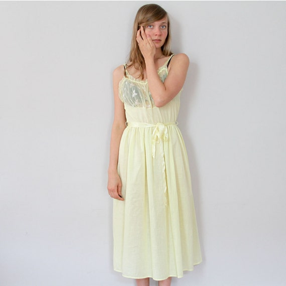 ON SALE 70s Yellow Slip Dress // Sheer Floral Nightgown S M