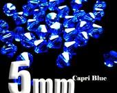 20 Swarovski Crystal Bead Bicone Xilion 5301 / 5328 Capri Blue 5mm