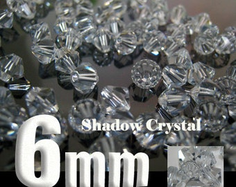 20 Swarovski Crystal Bead Bicone 5301 Shadow Crystal 6mm