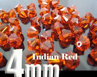 50 Swarovski Crystal Bead Bicone 5301 Indian Red 4mm