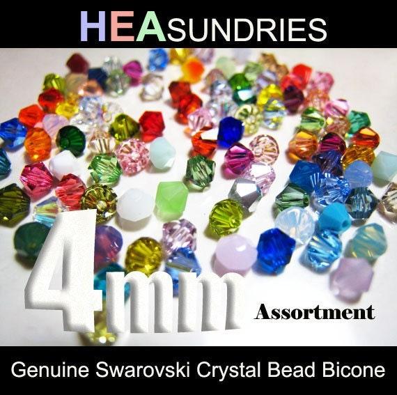 100 Swarovski Crystal Bead Bicone Xilion 5301 / 5328 4mm Assortment ( Random Colour )