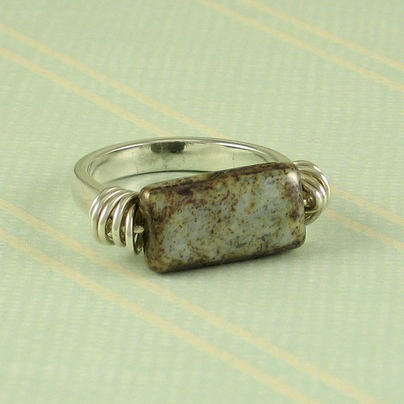Czech Glass Ring, Sterling Silver, Size 7 1/4