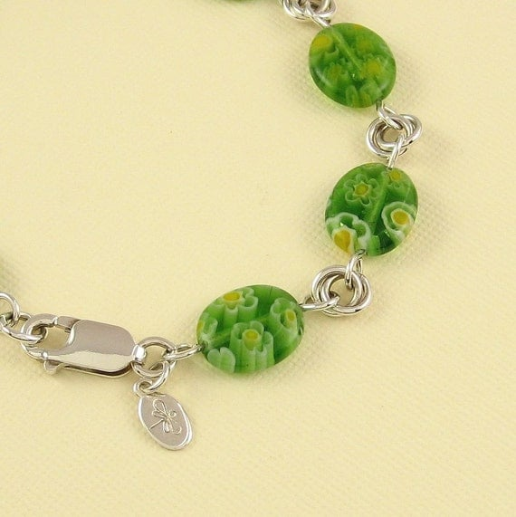 Reserved for Teri, Green Flower Art Glass and Sterling Silver Bracelet and Earring Set