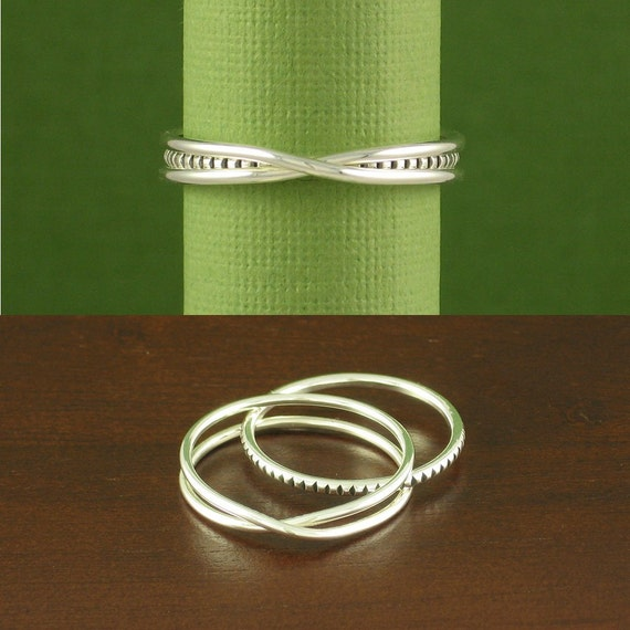 Serendipity Ring, One Infinity Ring and One Stacking Ring, Argentium Sterling Silver, Made to Order