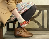 Short Wrist Warmers Fairisle Fingerless Gloves Red Rose in Putty and Tartan Scarlet Gift for Her - MADE TO ORDER