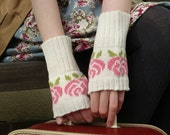 Floral Pastel Wrist Warmers Fingerless Gloves in Vanilla White and Blushing Pink - MADE TO ORDER