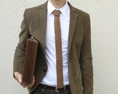 Toffee Brown Neck Tie in British Spun Lambswool Gift For Him - MADE TO ORDER