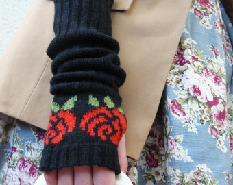 Long Black Fingerless Gloves, Red Rose Flower Pattern, Autumn Accessories Fall Fashion - MADE TO ORDER