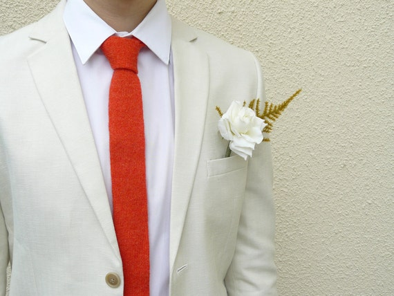Coral Knit Tie Mens Necktie or Boys Necktie, Solid Colour Neckties, Wedding Neckties, Preppy Ties - MADE TO ORDER