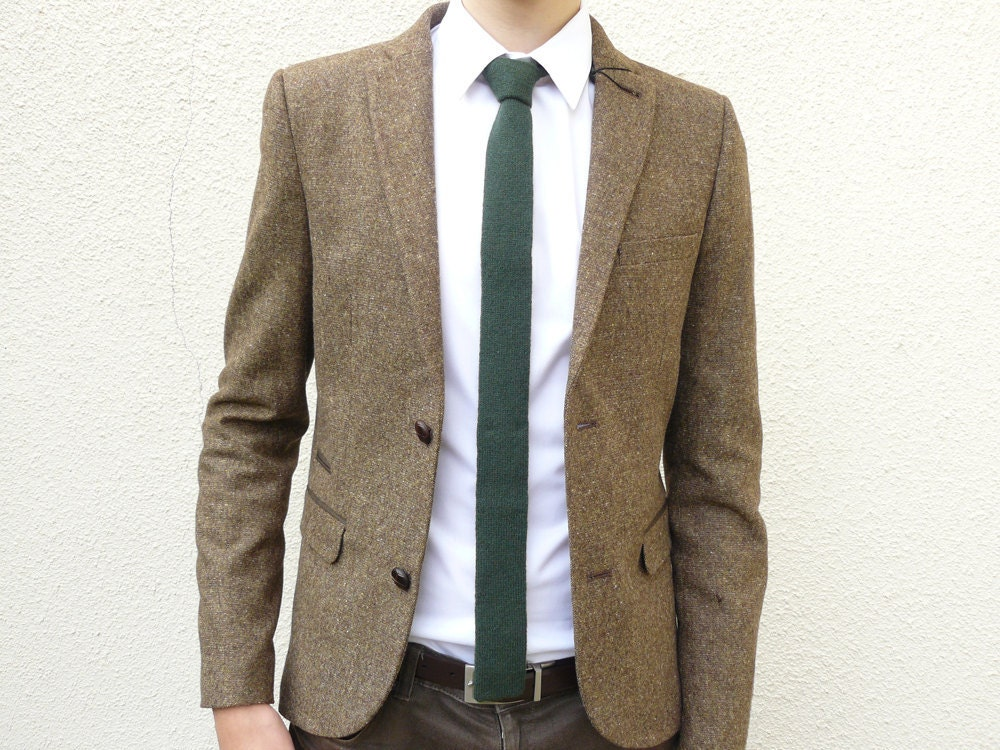 Mens Neckwear Forest Green Skinny Wool Necktie Flat Bottom