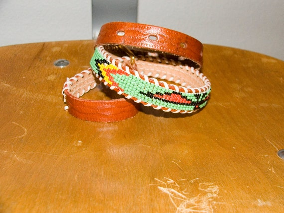 1980s Colorful Hand Beaded Native American Belt