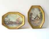Vintage Framed Italian Art Prints - Gold Frame Set of Cellini Prints