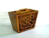 Magazine Rack For Him Newspaper Holder - Mid Century Wooden - Home Office Decor Style Organizer Brown Storage Box Caddy