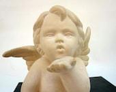 White Angel Cupid Blowing Kiss - Ivory Ceramic Cherub Figurine Love Statue - Baby Angel