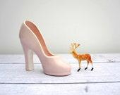 Pink Ceramic Shoe - Art Pottery High Heeled Shoe - Pale Pastel Pink 1950s