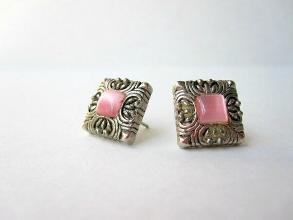 Vintage Pink and Silvertone Stud Earrings