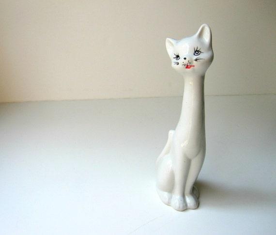 Vintage White Porcelain Cat Figurine Statue circa 1950s