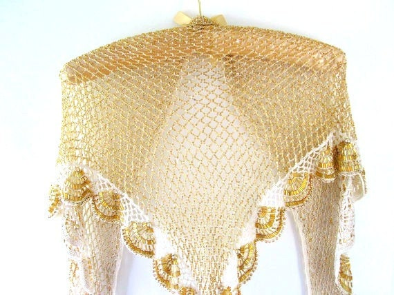 beaded shawl wrap cape crocheted gold ivory by