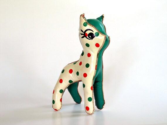 Mid Century Deer - Toy Stuffed Animal - Oil Cloth Reindeer - Ivory Cream Green Orange Polka Dots - Nursery Decor