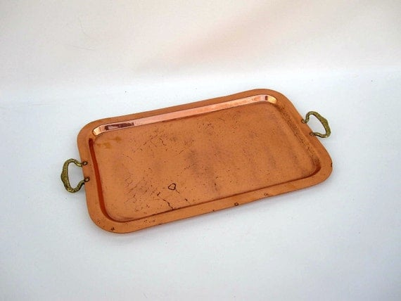 Copper Serving Tray - Brass Handles - Rustic Tray Cottage Chic Decor
