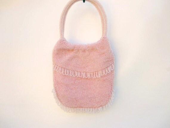 Pink Purse Handbag - Beaded Satin Evening Bag - Walborg Cocktail Bag Pastel Pink - Bridal Flower Girl Purse 1950s Mid Century Fashion