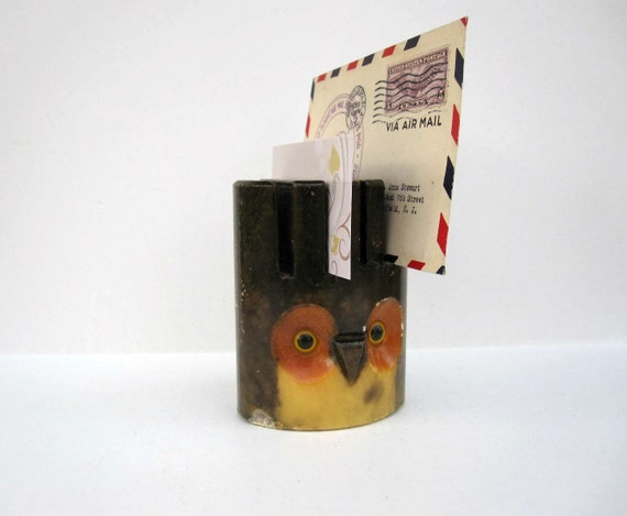 RESERVED for B. - Owl Business Card Holder - Letter Organizer for Him - Brown Yellow Orange
