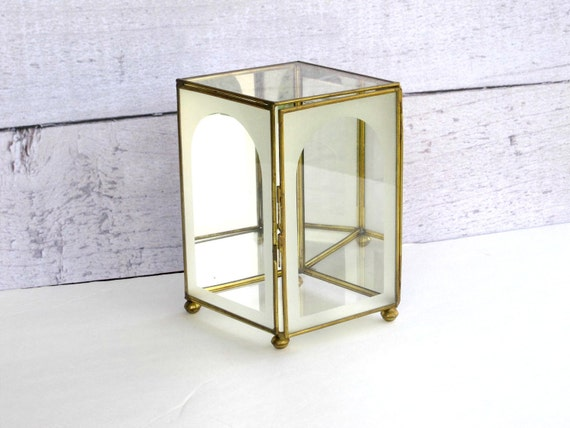 Glass Display Box  - Etched Mirror Curio Case - Glass and Brass