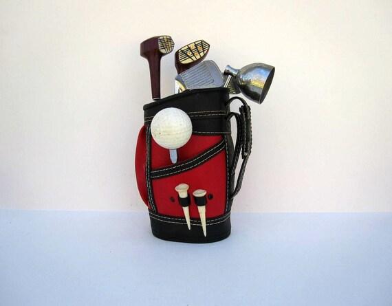 Mid Century Barware - Golf Bag Cocktail Mixer Set - For Him - Red Black White Golf Decor