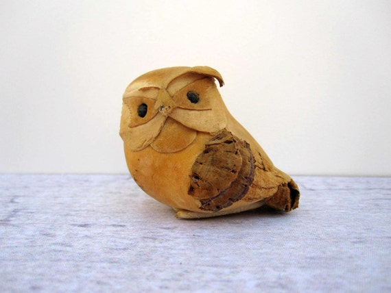 Mustard Yellow Owl Figurine - Suede Leather - Tiny Small Owl