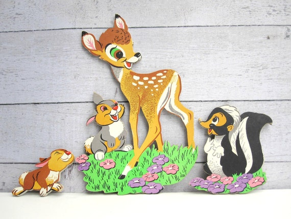 Woodland Nursery Decor - Bambi and Friends Disney Child Wall Art - Spring Meadow Scene - Cardboard Wall Hanging