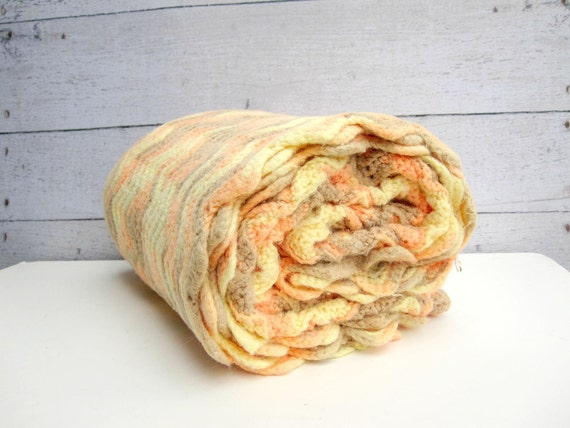 "Pastel Afghan - Crocheted Throw Blanket - Lemon Yellow Orange Sherbert Neutral Beige 48"" x 70"""