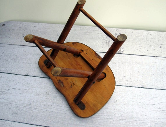 Mid Century Folding Step Stool Wooden Stool With White