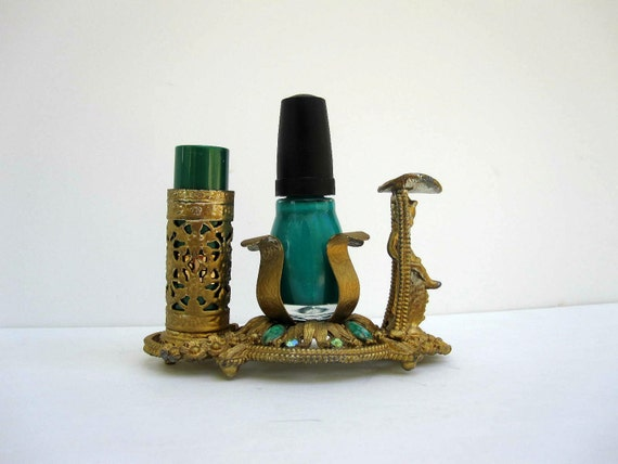 Mid Century Vanity Lipstick Holder and Nail Polish Holder by Sam Fink - Gold Tone and Turquoise For Her