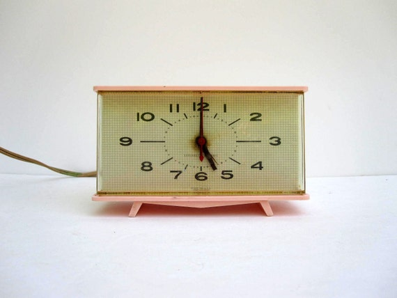 Mid Century Pink Clock - Retro Pink Electric Clock by General Electric