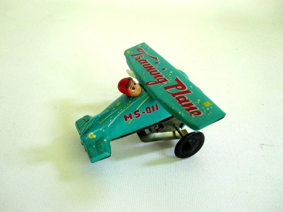 Turquoise Toy Plane - Wind Up Red and Aqua Tin Metal Airplane - Training Plane