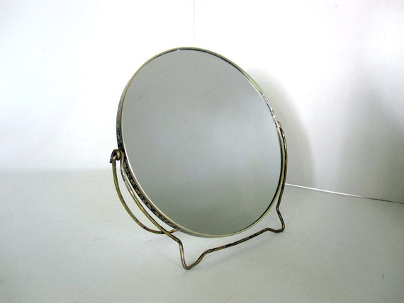 Vanity Mirror - Gold Toned Standing Magnifying Mirror - Rose Flower Detail - Bathroom Makeup Mirror for the Boudoir
